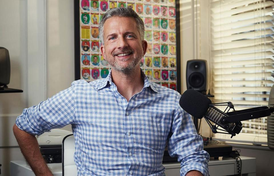 "Sports analyst and podcaster Bill Simmons poses in his office, Friday June 3, 2016, at Sunset Gower Studios in Los Angeles, California. Simmons has a new show coming out on HBO called ""The Ringer"". (Bret Hartman/For The Boston Globe Magazine)"